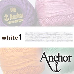 WHITE 1 Anchor Pearl Cotton 8